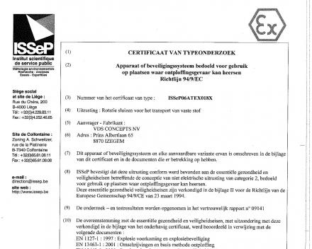 Atex certificaat Arova (onderdeel VDS concepts NV)