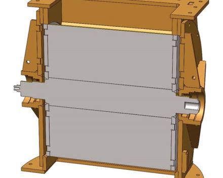 Doorsnede van een doorvalsluis met een gesloten rotor waar een opening zichtbaar is tussen de rotor en de flenzen