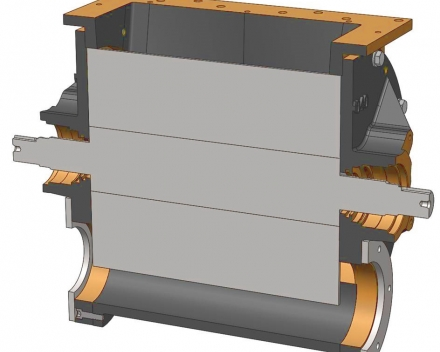 Doorsnede van een doorblaassluis met een open rotor waar de rotor nauw aansluit aan de flenzen