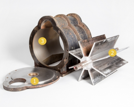 Opbouw sluis: flenzen, rotor en stator